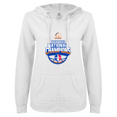 ENZA Ladies White V Notch Raw Edge Fleece Hoodie-Movin Mavs NWBA National Champions