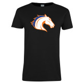 Ladies Black T Shirt-Horse Head