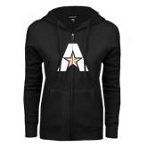 ENZA Ladies Black Fleece Full Zip Hoodie-A with Star