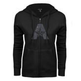 ENZA Ladies Black Fleece Full Zip Hoodie-A with Star Graphite Glitter