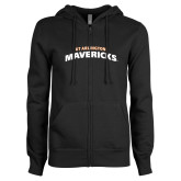 ENZA Ladies Black Fleece Full Zip Hoodie-UTA Mavericks stacked