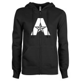 ENZA Ladies Black Fleece Full Zip Hoodie-A with Star