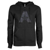 ENZA Ladies Black Fleece Full Zip Hoodie-A with Star Graphite Glitter