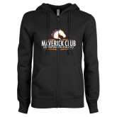 ENZA Ladies Black Fleece Full Zip Hoodie-Maverick Club