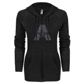 ENZA Ladies Black Light Weight Fleece Full Zip Hoodie-A with Star Graphite Glitter