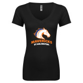 Next Level Ladies Junior Fit Deep V Black Tee-Primary Mark