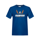 Youth Royal T Shirt-2017 Sun Belt Champions - Mens Indoor Track and Field Wings