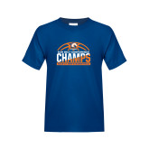 Youth Royal T Shirt-2017 Mens Basketball Champions Stacked Baketball