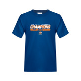 Youth Royal T Shirt-2017 Mens Basketball Champions Stacked