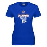 Ladies Royal T Shirt-2016-17 Regular Season Champions - Mens Basketball Hanging Net