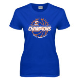 Ladies Royal T Shirt-2016-17 Regular Season Champions - Mens Basketball Lined Ball