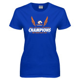 Ladies Royal T Shirt-2017 Sun Belt Champions - Mens Indoor Track and Field Wings