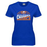 Ladies Royal T Shirt-2017 Mens Basketball Champions Stacked Baketball
