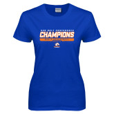 Ladies Royal T Shirt-2017 Mens Basketball Champions Stacked