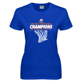 Ladies Royal T Shirt-2017 Mens Basketball Champions Net