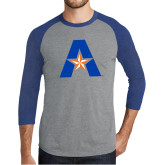 Grey/Royal Heather Tri Blend Baseball Raglan-A with Star