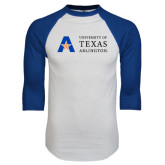 White/Royal Raglan Baseball T Shirt-Secondary Mark