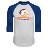 White/Royal Raglan Baseball T Shirt-Mavericks