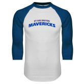 White/Royal Raglan Baseball T Shirt-UTA Mavericks stacked