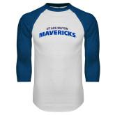 White/Royal Raglan Baseball T Shirt-UTA Mavericks stacked