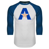 White/Royal Raglan Baseball T Shirt-A with Star