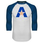White/Royal Raglan Baseball T Shirt-A with Star