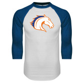 White/Royal Raglan Baseball T Shirt-Horse Head