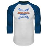 White/Royal Raglan Baseball T Shirt-Baseball Seams