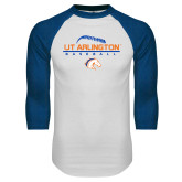 White/Royal Raglan Baseball T Shirt-Baseball Seams on Top