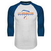 White/Royal Raglan Baseball T Shirt-Baseball Seams on Top