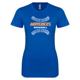 Next Level Ladies SoftStyle Junior Fitted Royal Tee-Baseball Seams