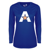 Ladies Syntrel Performance Royal Longsleeve Shirt-A with Star