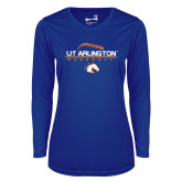 Ladies Syntrel Performance Royal Longsleeve Shirt-Baseball Seams on Top