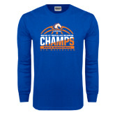 Royal Long Sleeve T Shirt-2016-17 Regular Season Champs - Mens Basketball Half Ball