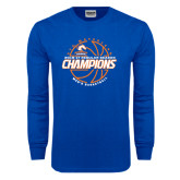 Royal Long Sleeve T Shirt-2016-17 Regular Season Champions - Mens Basketball Lined Ball