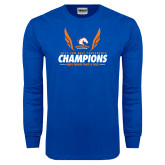 Royal Long Sleeve T Shirt-2017 Sun Belt Champions - Mens Indoor Track and Field Wings