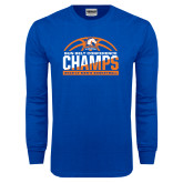 Royal Long Sleeve T Shirt-2017 Mens Basketball Champions Stacked Baketball
