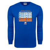 Royal Long Sleeve T Shirt-2017 Sun Belt Conference Tournament Champions Repeating - Womens Basketball