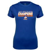 Ladies Syntrel Performance Royal Tee-2016-17 Regular Season Champions - Mens Basketball Stencil