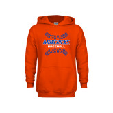 Youth Orange Fleece Hoodie-Baseball Seams
