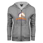 ENZA Ladies Grey Fleece Full Zip Hoodie-Mavericks