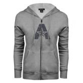 ENZA Ladies Grey Fleece Full Zip Hoodie-A with Star Graphite Glitter