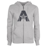 ENZA Ladies Grey Fleece Full Zip Hoodie-A with Star Graphite Glitter