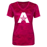 Ladies Pink Raspberry Camohex Performance Tee-A with Star