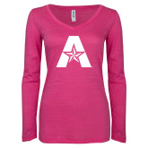 ENZA Ladies Hot Pink Long Sleeve V Neck Tee-A with Star