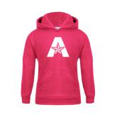 Youth Raspberry Fleece Hood-A with Star