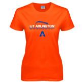 Ladies Orange T Shirt-Baseball Laces on Top