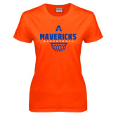 Ladies Orange T Shirt-Basketball Geo Net
