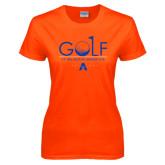 Ladies Orange T Shirt-Golf Flag