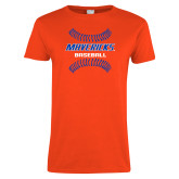 Ladies Orange T Shirt-Baseball Seams